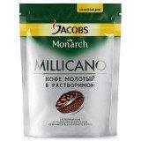 Кофе растворимый с добавлением молотого Jacobs Monarch Millicano 150  г. сублимированный ,вакуумная упаковка